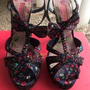 Betsey Johnson floral satin strappy shoes